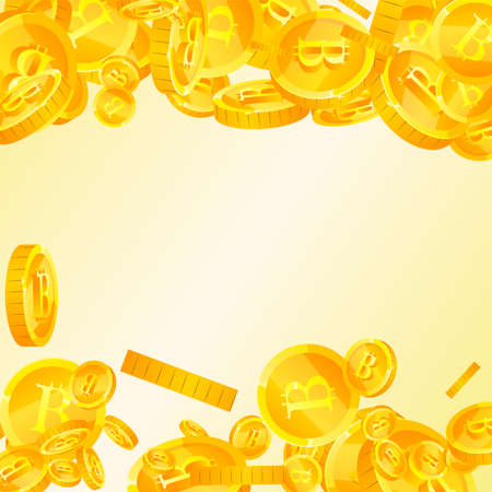 Bitcoin, internet currency coins falling. Delicate scattered BTC coins. Cryptocurrency, digital money. Immaculate jackpot, wealth or success concept. Vector illustration.