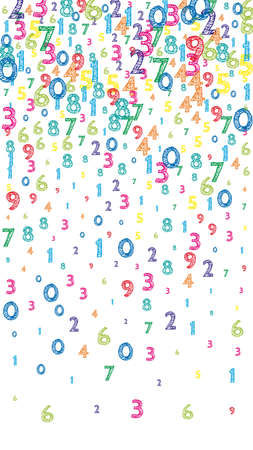 Falling colorful orderly numbers. Math study concept with flying digits. Fine back to school mathematics banner on white background. Falling numbers vector illustration.