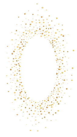 Gold stars luxury sparkling confetti. Scattered small gold particles on white background. Dramatic festive overlay template. Unequaled vector background.