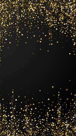 Gold triangles luxury sparkling confetti. Scattered small gold particles on black background. Emotional festive overlay template. Divine vector background. Illusztráció