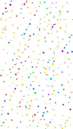 Festive symmetrical confetti. Celebration stars. Festive confetti on white background. Good-looking festive overlay template. Vertical vector background.