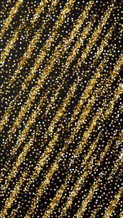 Gold glitter luxury sparkling confetti. Scattered small gold particles on black background. Emotional festive overlay template. Overwhelming vector background.