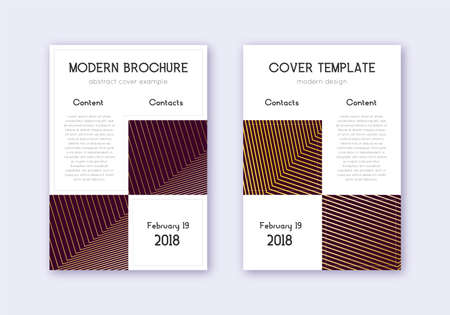 Business cover design template set. Gold abstract lines on maroon background. Appealing cover design. Favorable catalog, poster, book template etc. Illusztráció