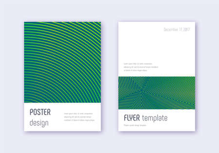 Minimalistic cover design template set. Green abstract lines on dark background. Ecstatic cover design. Sightly catalog, poster, book template etc.