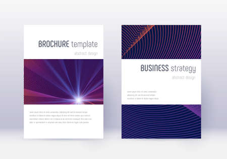 Minimalistic cover design template set. Violet abstract lines on dark background. Excellent cover design. Magnetic catalog, poster, book template etc.