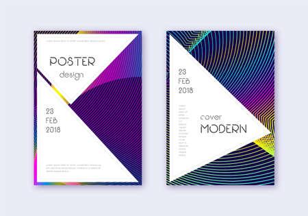 Stylish cover design template set. Rainbow abstract lines on dark blue background. Fantastic cover design. Imaginative catalog, poster, book template etc. Illusztráció