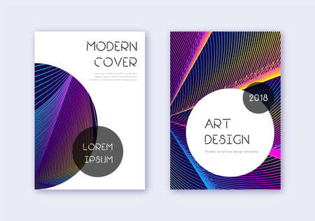 Trendy cover design template set. Rainbow abstract lines on dark blue background. Grand cover design. Amazing catalog, poster, book template etc.