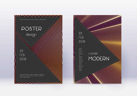 Black cover design template set. Gold abstract lines on maroon background. Actual cover design. Imaginative catalog, poster, book template etc.