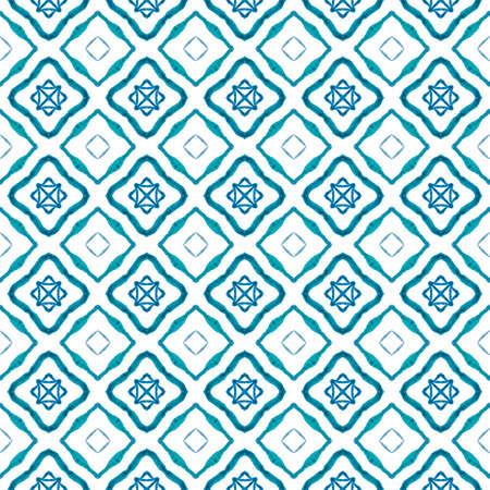 Textile ready creative print, swimwear fabric, wallpaper, wrapping. Blue pleasing boho chic summer design. Oriental arabesque hand drawn border. Arabesque hand drawn design.