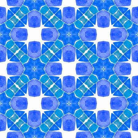 Textile ready magnificent print, swimwear fabric, wallpaper, wrapping. Blue noteworthy boho chic summer design. Medallion seamless pattern. Watercolor medallion seamless border.