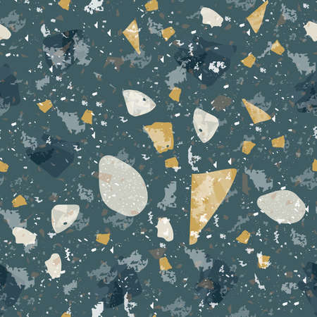 Terrazzo seamless pattern. Dark classic flooring texture. Charming background made of natural stones, granite, quartz, marble, and concrete. Unusual seamless terrazzo.