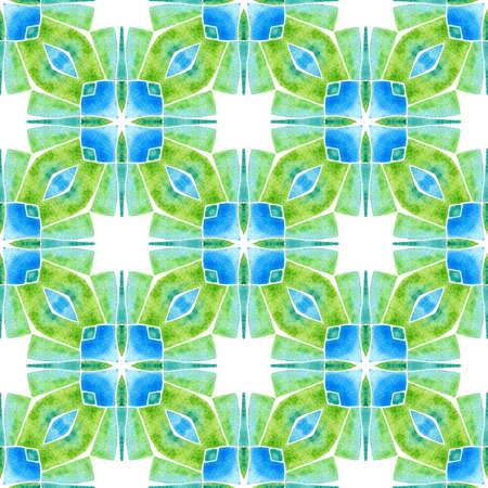 Ikat repeating swimwear design. Green grand boho chic summer design. Textile ready worthy print, swimwear fabric, wallpaper, wrapping. Watercolor ikat repeating tile border. Imagens