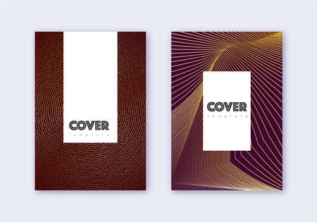 Hipster cover design template set. Gold abstract