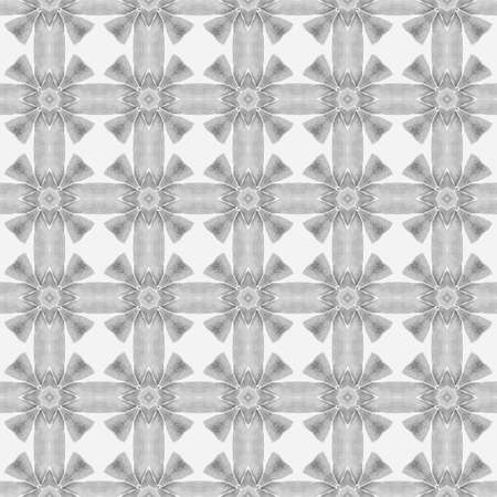 Ethnic hand painted pattern. Black and white valuable boho chic summer design. Watercolor summer ethnic border pattern. Textile ready popular print, swimwear fabric, wallpaper, wrapping.