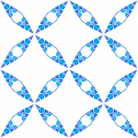 Summer exotic seamless border. Blue wonderful boho chic summer design. Textile ready unusual print, swimwear fabric, wallpaper, wrapping. Exotic seamless pattern.