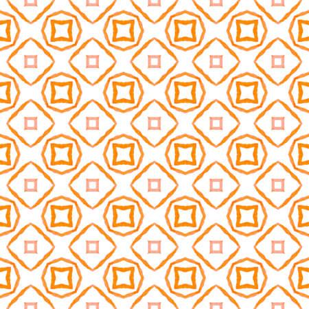 Exotic seamless pattern. Orange quaint boho chic summer design. Summer exotic seamless border. Textile ready good-looking print, swimwear fabric, wallpaper, wrapping. Banco de Imagens