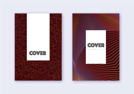 Hipster cover design template set. Orange abstract lines on wine red background. Classic cover design. Memorable catalog, poster, book template etc.