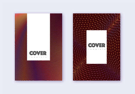 Hipster cover design template set. Orange abstract lines on wine red background. Classic cover design. Pretty catalog, poster, book template etc.