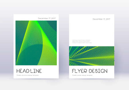 Minimal cover design template set. Green abstract lines on dark background. Delightful cover design. Brilliant catalog, poster, book template etc.