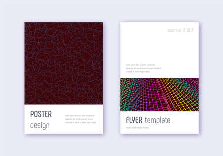 Minimalistic cover design template set. Rainbow abstract lines on wine red background. Eminent cover design. Bold catalog, poster, book template etc. Ilustração