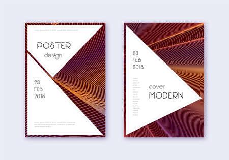 Stylish cover design template set. Orange abstract lines on wine red background. Fantastic cover design. Alluring catalog, poster, book template etc. Ilustração
