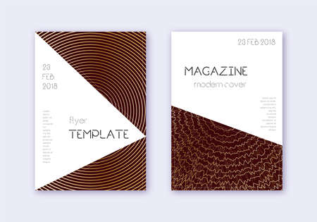 Triangle cover design template set. Gold abstract lines on maroon background. Impressive cover design. Delicate catalog, poster, book template etc.