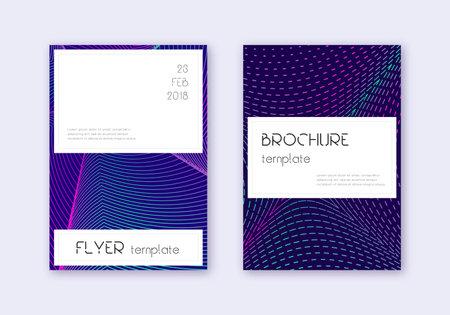 Stylish cover design template set. Neon abstract lines on dark blue background. Favorable cover design. Worthy catalog, poster, book template etc. Vektoros illusztráció