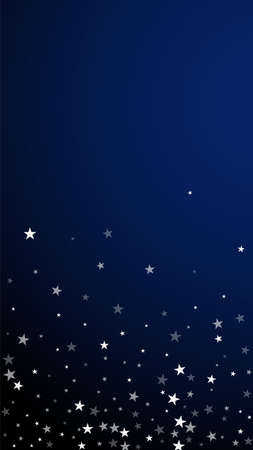 Random falling stars Christmas background. Subtle flying snow flakes and stars on dark blue background. Appealing winter silver snowflake overlay template. Optimal vertical illustration. Vettoriali