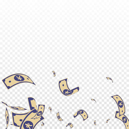 Chinese yuan notes falling. Random CNY bills on transparent background. China money. Ecstatic vector illustration. Flawless jackpot, wealth or success concept. Vecteurs