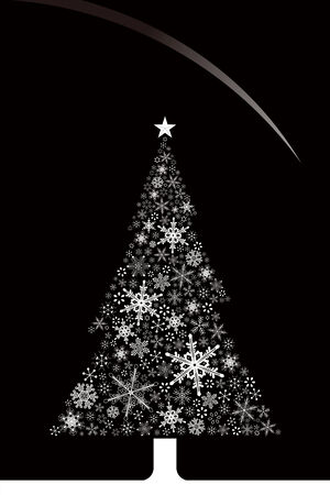 Christmas snowflakes and tree Vector