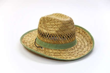 straw cowboy hat on a white Stock Photo