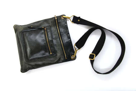 black leather male bag on a white