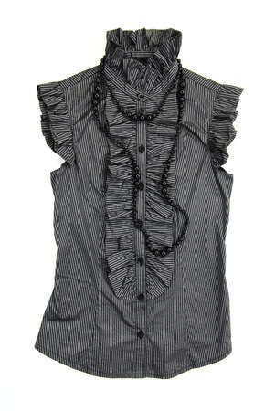 vintage gray blouse with black necklace on a white