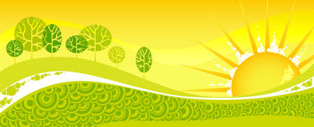 Green spring forest on a yellow sunset. Vector