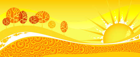 Red summer forest on yellow sunset. Vector