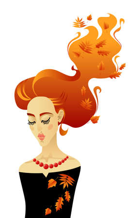 Beautiful girl with long red hair. Illustration