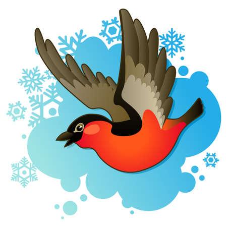red bullfinch on winter background Illustration
