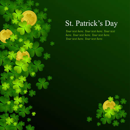 St. Patricks day background in green and black colors Vector