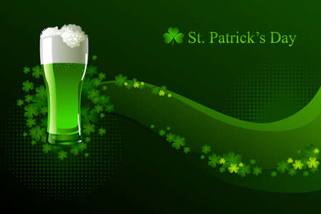 st  patrick: Green beer for St Patricks Day Illustration