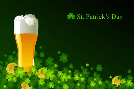 Frosty glass of light beer for St Patrick's Day Stock Vector - 8977997