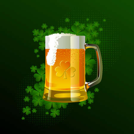 Frosty glass of light beer for St Patricks Day Vector