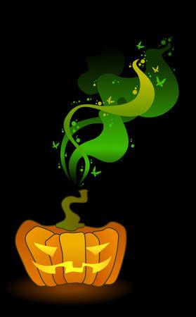 Big orange Jack-O-Lantern Pumpkins Illustration