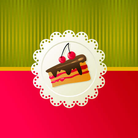 Cherry cake on a white napkin on red background. Illustration