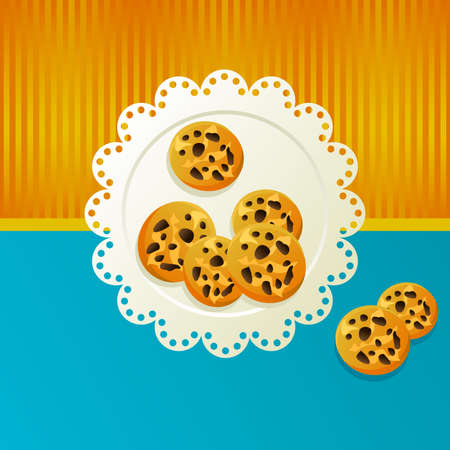 Cookies on a white napkin on blue background. Vector