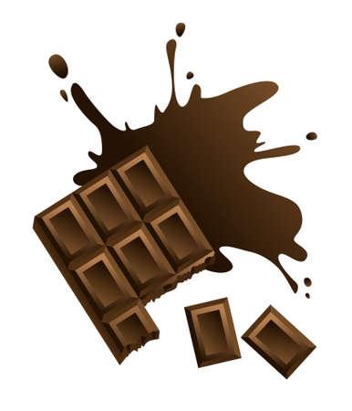 casse-cro�te: Barre de chocolat sur fond blanc. Illustration