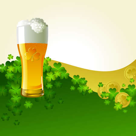 Frosty glass of light beer Vector