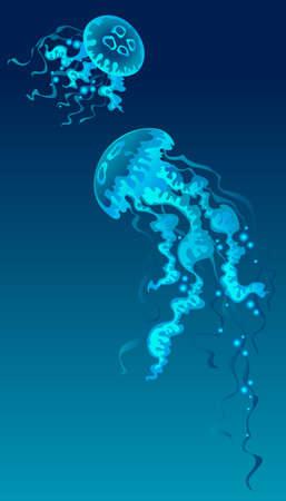 Kwallen in de blauwe achtergrond. Vector Illustratie
