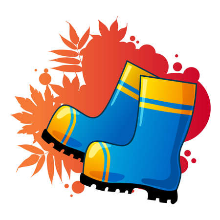 Blue rubber boots on autumnal background. Stock Vector - 9102031