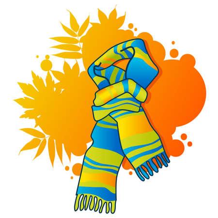 Bufanda de moda en fondo otoñal Ilustración de vector