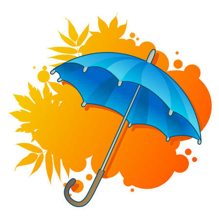 blue umbrella on autumnal background Vector